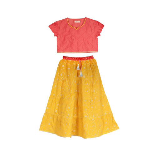 My Little Lambs Coral Pink & Yellow Ready to Wear Lehenga with Blouse