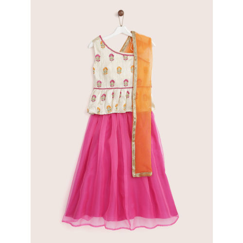 YK Girls Pink & Cream-Coloured Embroidered Ready to Wear Lehenga & Blouse with Dupatta