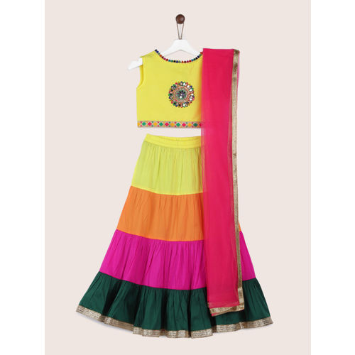 YK Girls Yellow & Green Embellished Ready to Wear Lehenga & Blouse with Dupatta