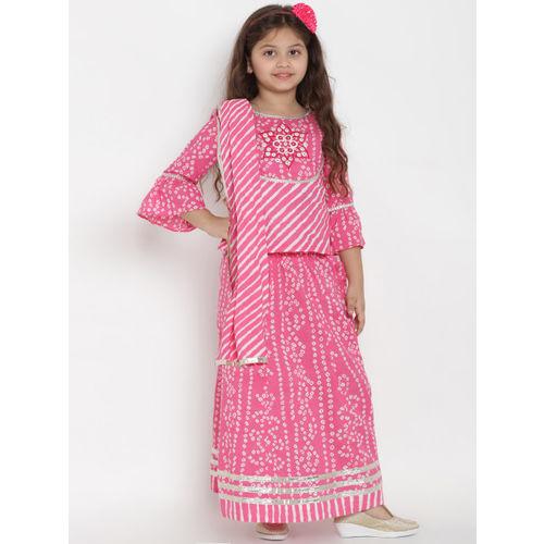 Bitiya by Bhama Girls Pink & White Printed Ready to Wear Lehenga & Blouse with Dupatta