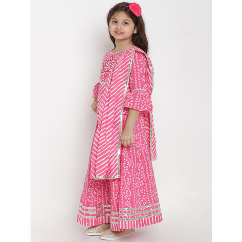 Bitiya by Bhama Girls Pink & White Printed Ready to Wear Lehenga & Blouse with Dupatta