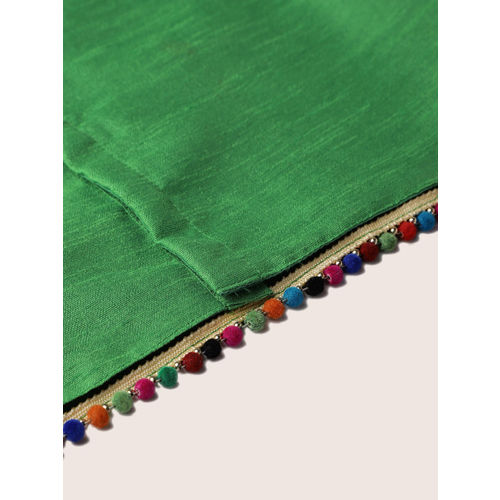 YK Girls Green & Pink Solid Ready to Wear Lehenga & Blouse with Dupatta