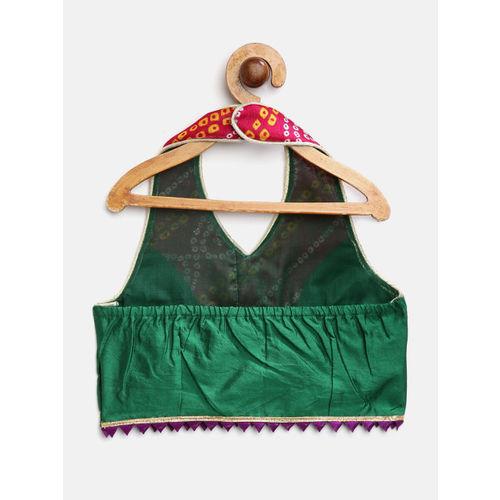 pspeaches Girls Magenta & Green Bandhej Print Ready to Wear Lehenga & Blouse with Dupatta
