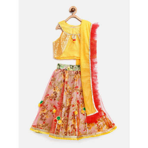 pspeaches Girls Red & Yellow Embellished Ready to Wear Lehenga & Blouse with Dupatta