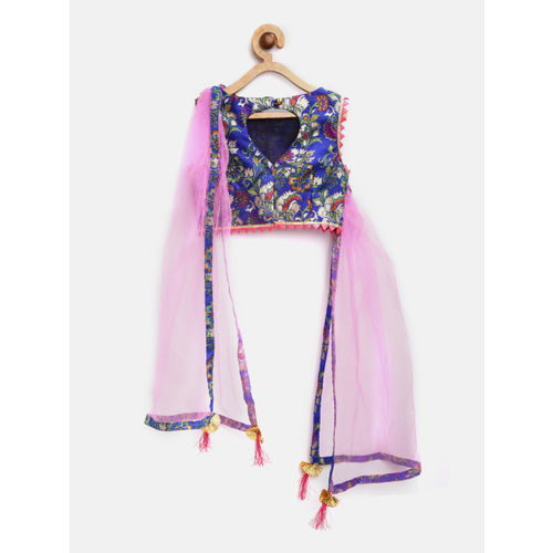pspeaches Girls Blue & Pink Printed Ready to Wear Lehenga & Blouse with Attached Dupatta