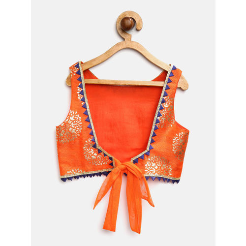 pspeaches Girls Blue & Orange Printed Ready to Wear Lehenga & Blouse with Dupatta