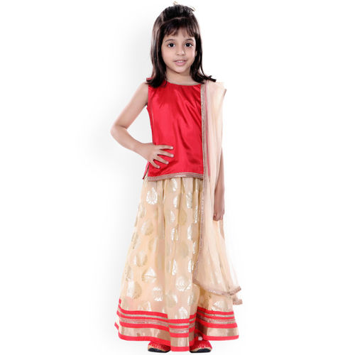 naughty ninos Girls Red & Beige Solid Ready to Wear Lehenga & Blouse with Dupatta