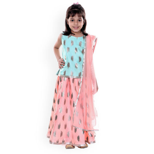 naughty ninos Girls Sea Green & Pink Printed Ready to Wear Lehenga & Blouse with Dupatta