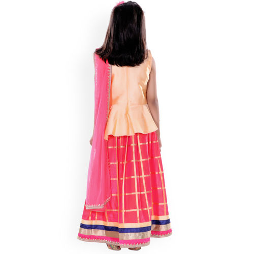 naughty ninos Girls Orange & Red Solid Ready to Wear Lehenga & Blouse with Dupatta
