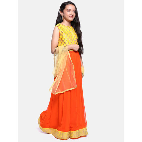 YK Girls Yellow & Orange Printed Ready to Wear Lehenga & Blouse with Dupatta