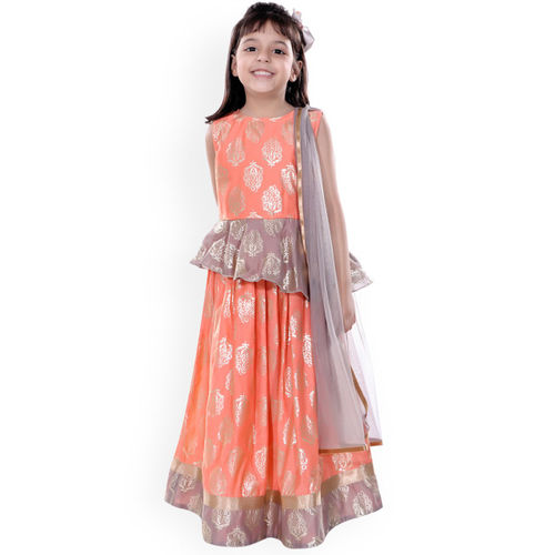naughty ninos Girls Orange & Purple Printed Ready to Wear Lehenga & Blouse with Dupatta