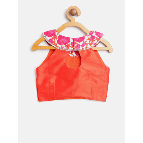 pspeaches Girls Magenta & Orange Solid Ready to Wear Lehenga & Blouse with Dupatta
