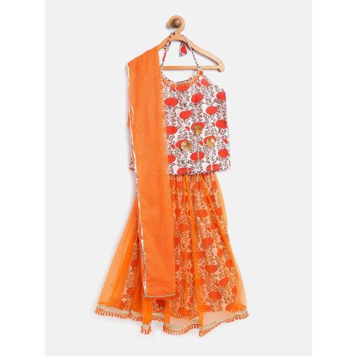 pspeaches Orange & White Printed Ready to Wear Lehenga & Blouse with Dupatta