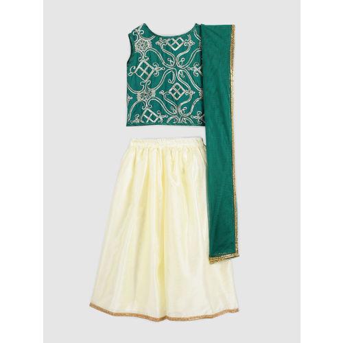 YK Girls Green & Off-White Embellished Lehenga & Blouse with Dupatta