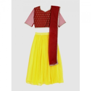 YK Girls Yellow & Maroon Printed Ready to Wear Lehenga & Blouse with Dupatta