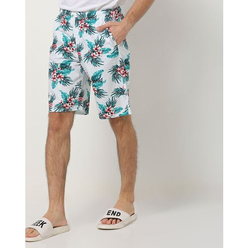 The Indian Garage Co Tropical Print Shorts with Elasticated Waist