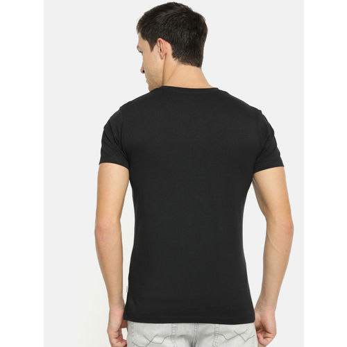 Jack & Jones Men Black Striped V-Neck T-shirt