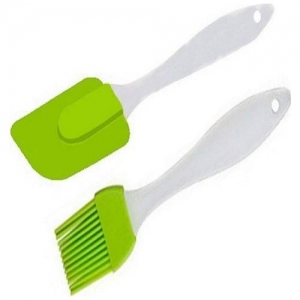 BORYS Silicone Spatula and Pastry Brush Set for Cake, Mixer, Decorating, Cooking, Baking(Green Colour) by Bluesea Ro System