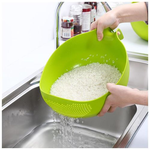 Mukta Enterprise Multipurpose Washing Bowl/Rice Bowl/Rinse Bowl & Strainer, Rinse Pasta, Vegetables,Rice, Fruits with Handle pack of 1 by Mukta Enterprise