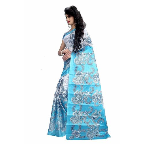Svb Sarees Taffeta Silk Block Print Saree without Blouse