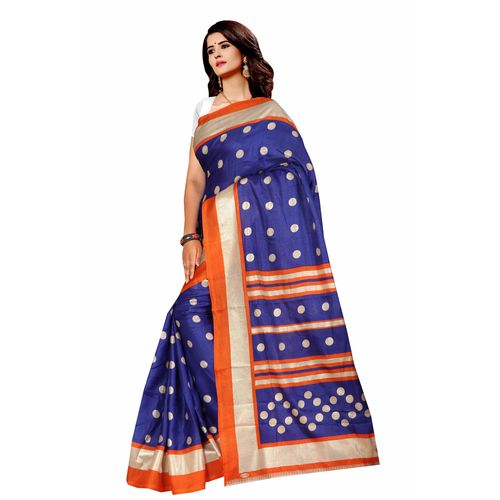 SVB SAREE Royal Blue Foil Print Silk Saree Length 5.25 Mtr With Blouse