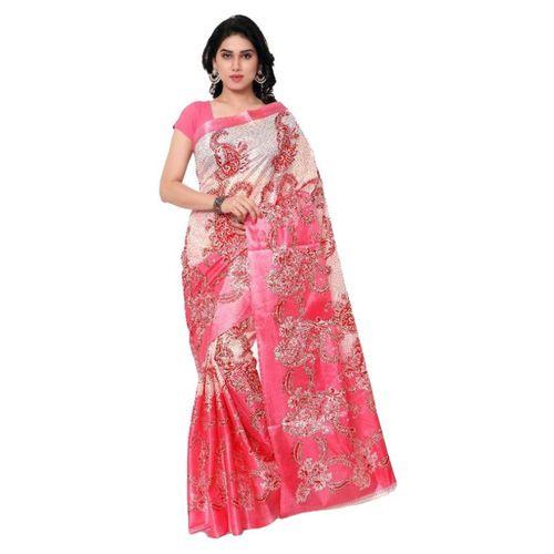 SVB Sarees Pink Taffeta Silk Printed Saree Without Blouse Piece