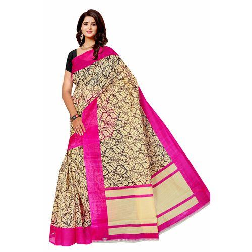 SVB Saree Embellished Multicolour Art Silk Saree With Blouse Piece