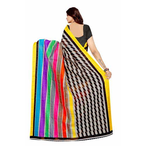 SVB Saree Multicolour Bhagalpuri Block Print Silk Saree With Blouse