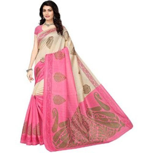 Svb Saree Pink Colour Bhaghalpuri Silk Saree With Blouse Piece