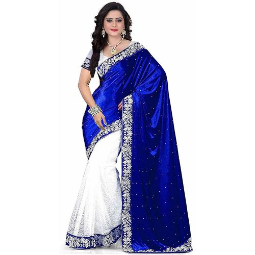 MMW Women's Embroidered Saree with Blouse Piece(Free Size)