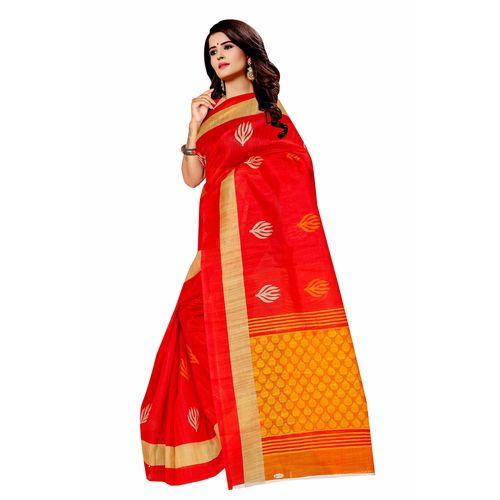 Pink Bandhani Bhagalpuri Silk Saree With Blouse by SVB Saree
