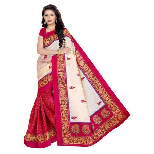 Svb Sarees Svb Saree Pink Colour Bhagalpuri Silk Saree With Blouse