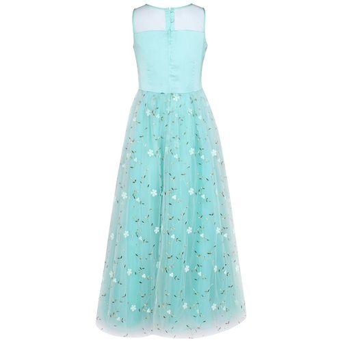 Cutecumber Girl's Net Floral Sleeveless Gown - Blue by Cutecumber
