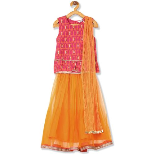 Karigari Girl's Cotton Printed Sleeveless Kurti & salwar set - Multi by Arvind Lifestyle Brands