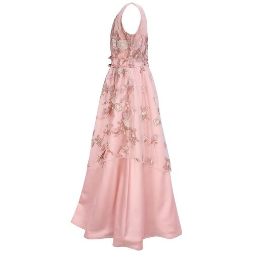 Cutecumber Girl's Satin Floral Sleeveless Gown - Pink by Cutecumber