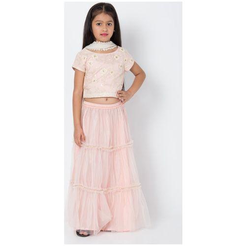 BIBA Pink Art Silk Straight Suit Set With Dupatta by Biba Apparels