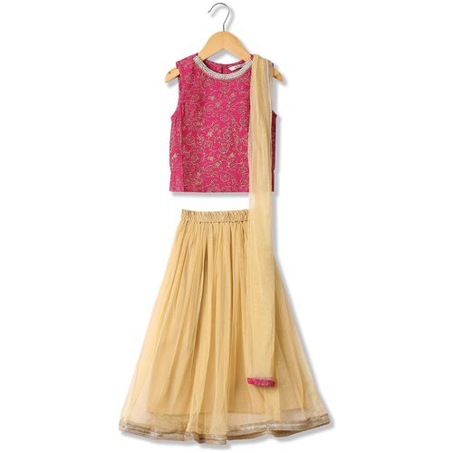 Karigari Girl's Polyester Self design Sleeveless Kurta & kurti - Pink & Beige by Arvind Lifestyle Brands