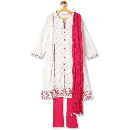 Karigari Girl's Cotton Solid 3/4th sleeves Kurti & salwar set - Multi by Arvind Lifestyle Brands