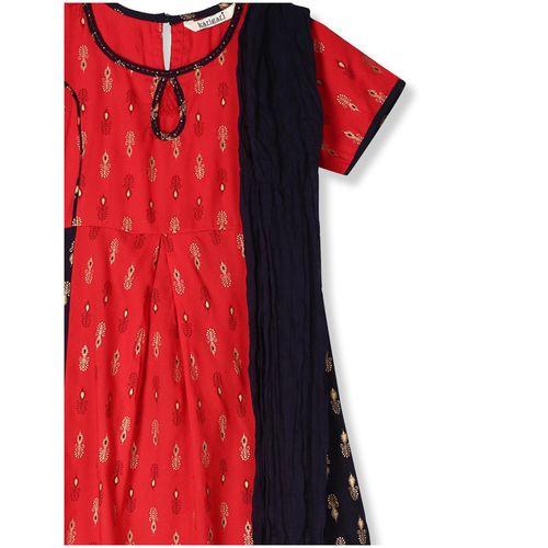 Karigari Girl's Rayon Printed Short sleeves Kurti & salwar set - Multi by Arvind Lifestyle Brands