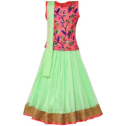 Aarika Girl's Silk Lehenga Choli & Dupatta Set by Kashish Dresses