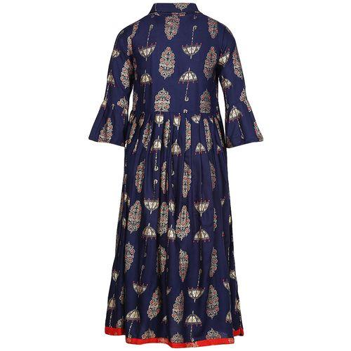 Aarika Girl's Cotton Printed 3/4th sleeves Kurta & kurti - Blue by Kashish Dresses