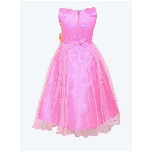 Aarika Girl's Net Self design Sleeveless Gown - Pink by Kashish Dresses