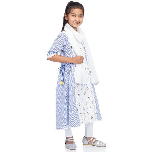 BIBA Girl's Cotton Printed Short sleeves Kurti & salwar set - White by Biba Apparels