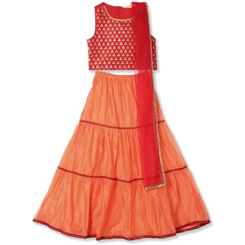 Karigari Girl's Polyester Printed Sleeveless Kurti & salwar set - Multi by Arvind Lifestyle Brands