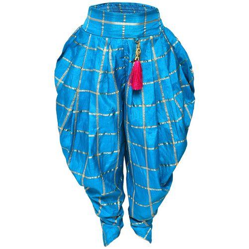 Aarika Girl's Art silk Solid Sleeveless Kurti & salwar set - Pink & Blue by Kashish Dresses