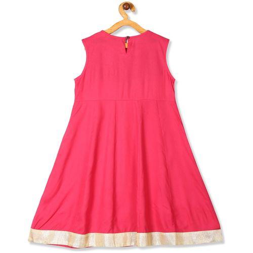 Karigari Girl's Rayon Solid Sleeveless Kurti & salwar set - Multi by Arvind Lifestyle Brands