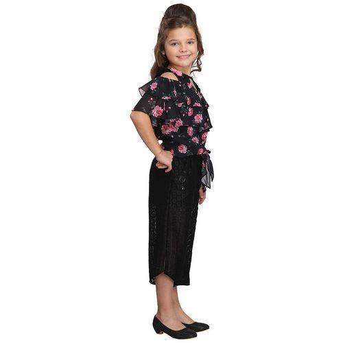 Cutecumber Girl Georgette Top & Bottom Set - Black by Cutecumber