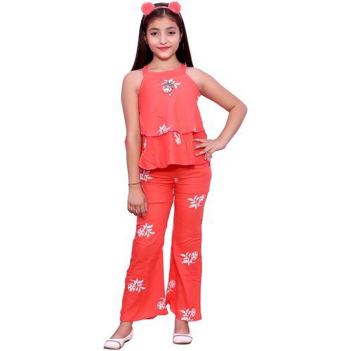 Elendra jeans Girl Rayon Top & Bottom Set - Orange by Fnocks