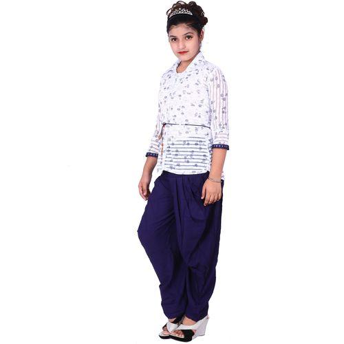 Elendra jeans Girl Rayon Top & Bottom Set - Blue & White by Fnocks