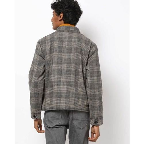 AJIO Checked Slim Fit Shacket with Insert Pockets